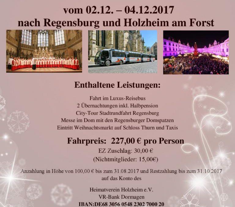 Adventsfahrt vom 02.12. – 04.12.2017 nach Regensburg und Holzheim am Forst