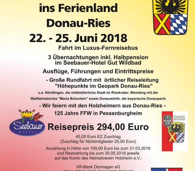 Partnerschaftsfahrt in Ferienland Donau-Ries vom 22.06. – 25.06 2018