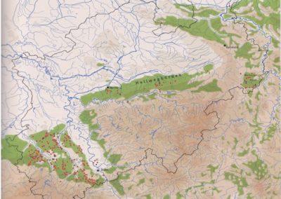 Bild 3: Die grünen Flächen sind die ersten Siedlungsgebiete der Bandkeramiker in NRW. Die roten Punkte zeigen Fundorte aus dieser Zeit. Der dunkle Rahmen sind die Grenzen von NRW. In Holzheim und Grefrath haben wir, außer das Beil von Bild 2, noch keine Nachweise z.B. Keramik gefunden.